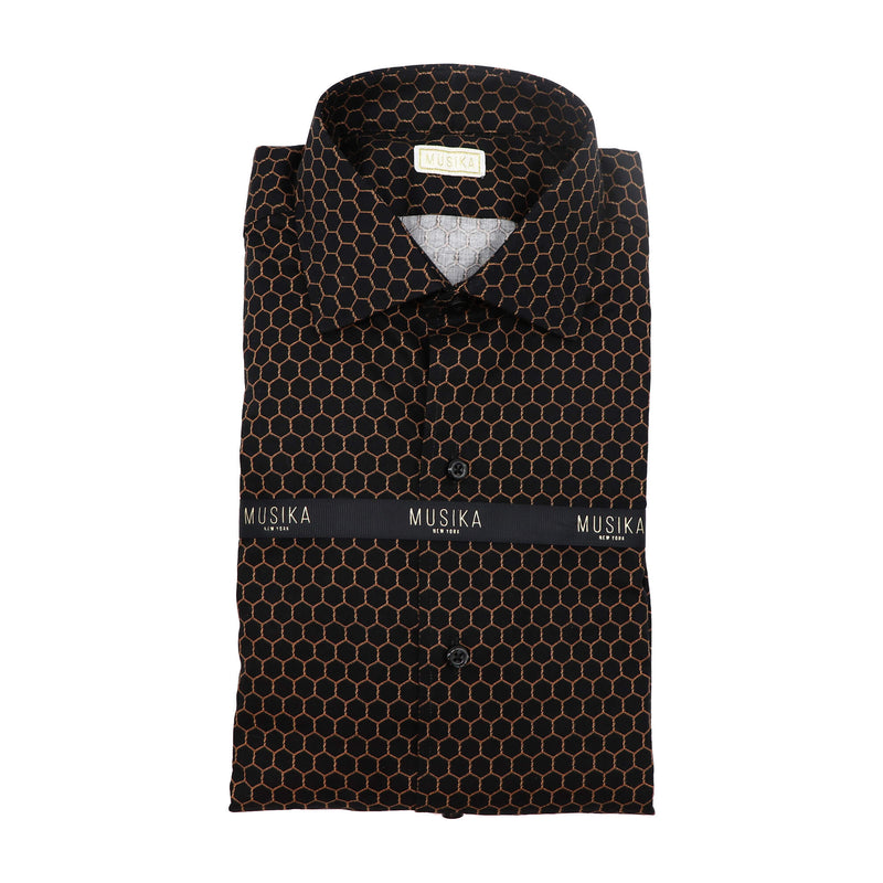 Black/Copper Geo Print Shirt