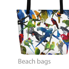 beach bag with parrots