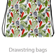 drawstring bags with parrots