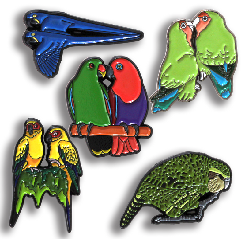 no 10 Kakapo from the World Parrot Trust Limited edition pin Badge