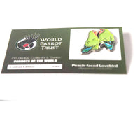 Collectors Enamel Pin Badges - no 6. Peach-faced Lovebirds