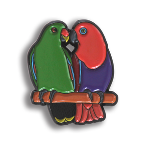 Collectors Enamel Pin Badges - no 7. Eclectus Parrots
