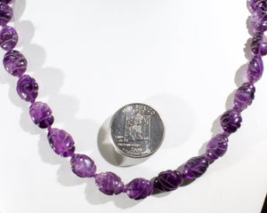 Amethyst carved ovals necklace