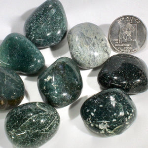 Moss agate tumble-polished pebbles