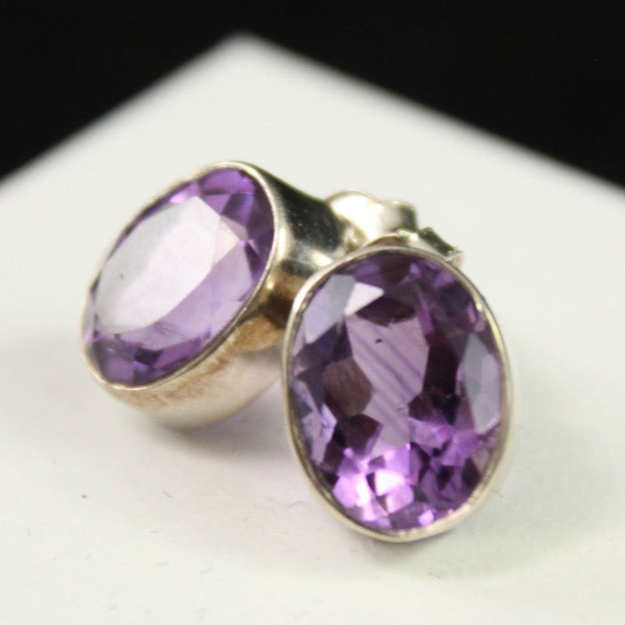 Faceted Amethyst Post Earrings