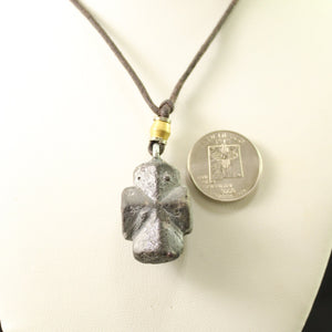 Staurolite cross on cord necklace