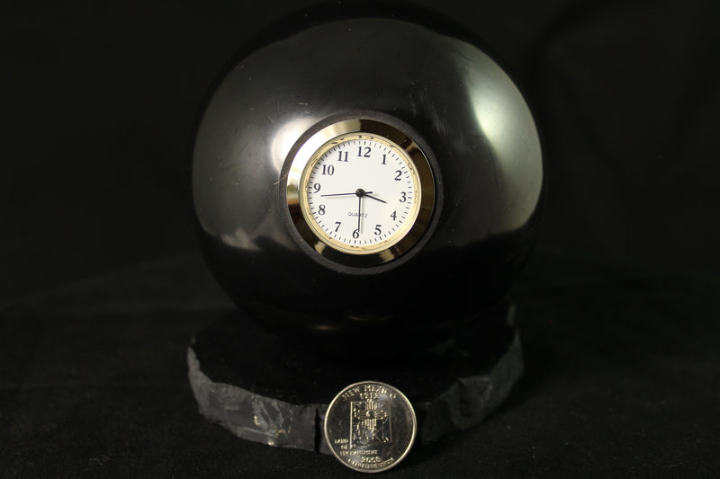 Shungite Sphere Clock and Slab Stand