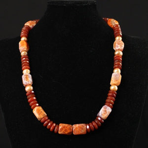 Red Agate Bead Necklace