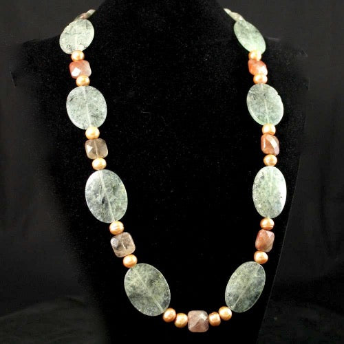 Long Tourminated Prehnite Necklace