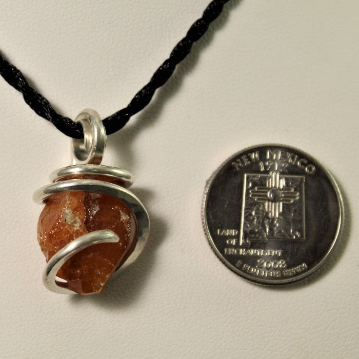Spessartine Garnet Pendant in Silver Wire-wrap