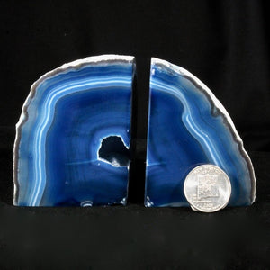 (Small) Blue Banded Agate Geode Bookends