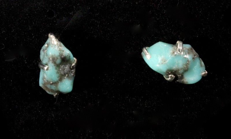 Turquoise rough stud earrings