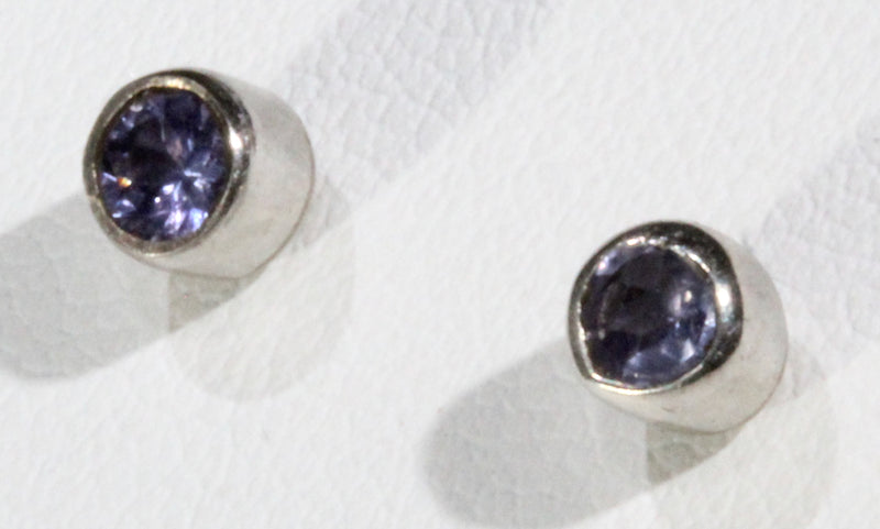 Faceted Tanzanite Round Stud Earrings