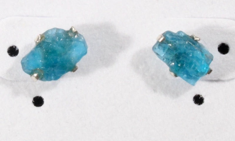 Apatite rough stud earrings