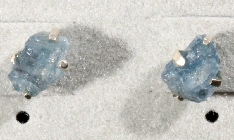 Aquamarine Rough Stud Earrings