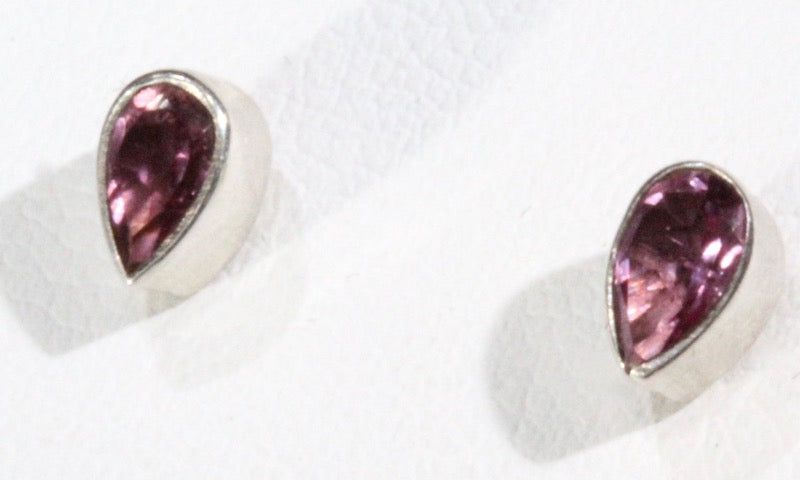 Tourmaline stud earrings - pink faceted tear drop