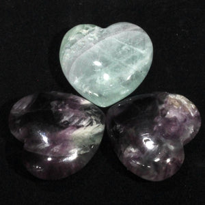 30mm Purple & Green Fluorite hearts