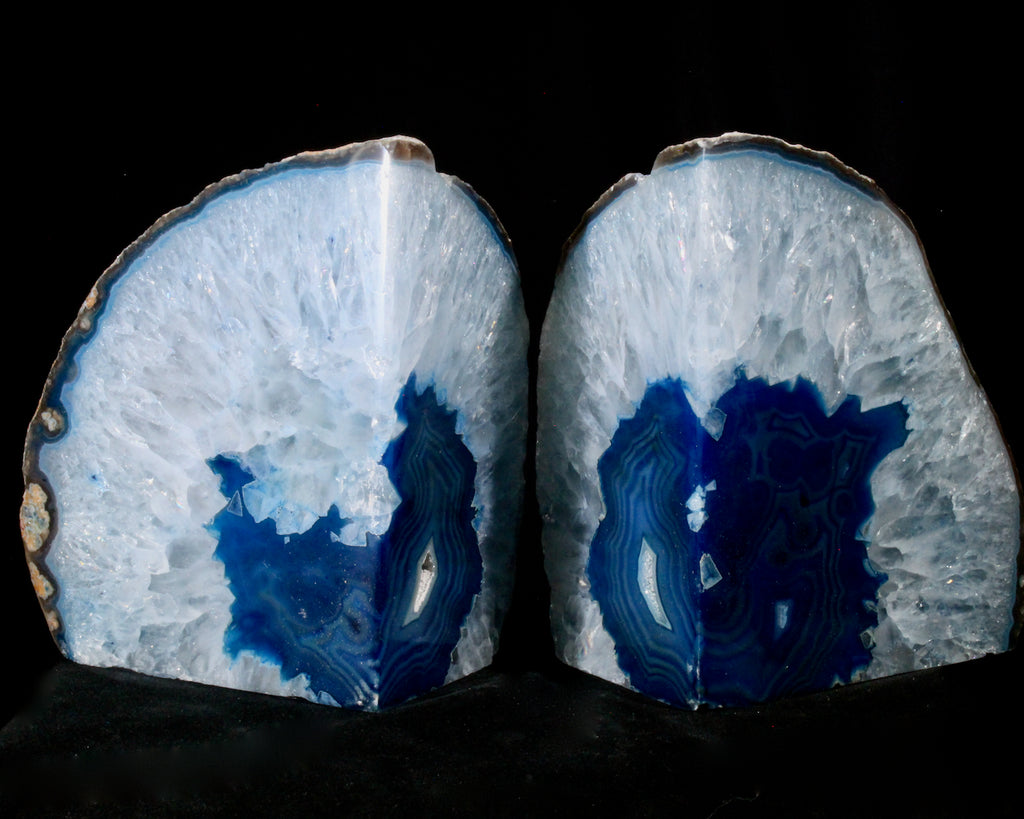 (Large) Blue Banded Agate Geode Bookends