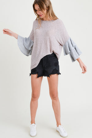 Tired Bell Sleeve Color Block Top Small