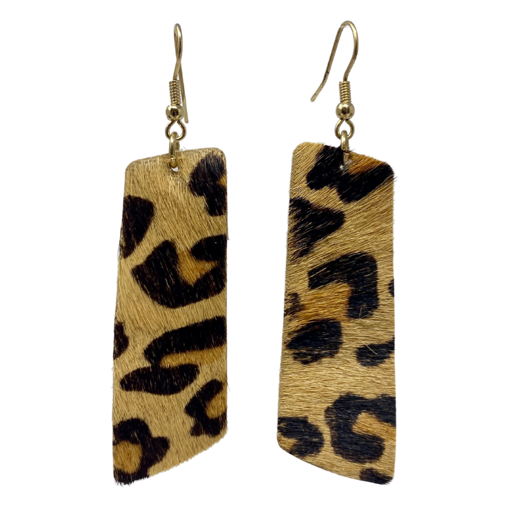 Cheetah Girl Rectangular Drop Earrings
