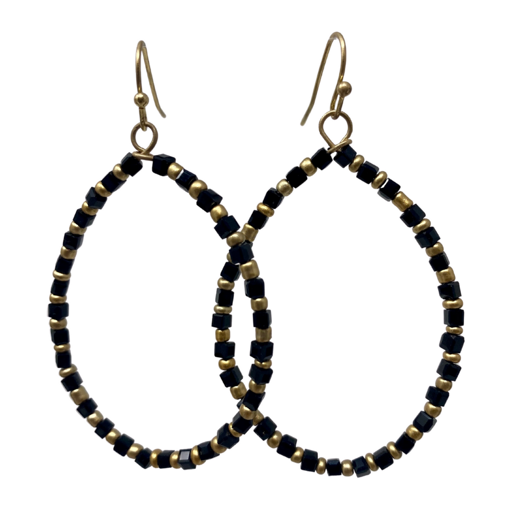 Garden Party Black & Gold Earrings