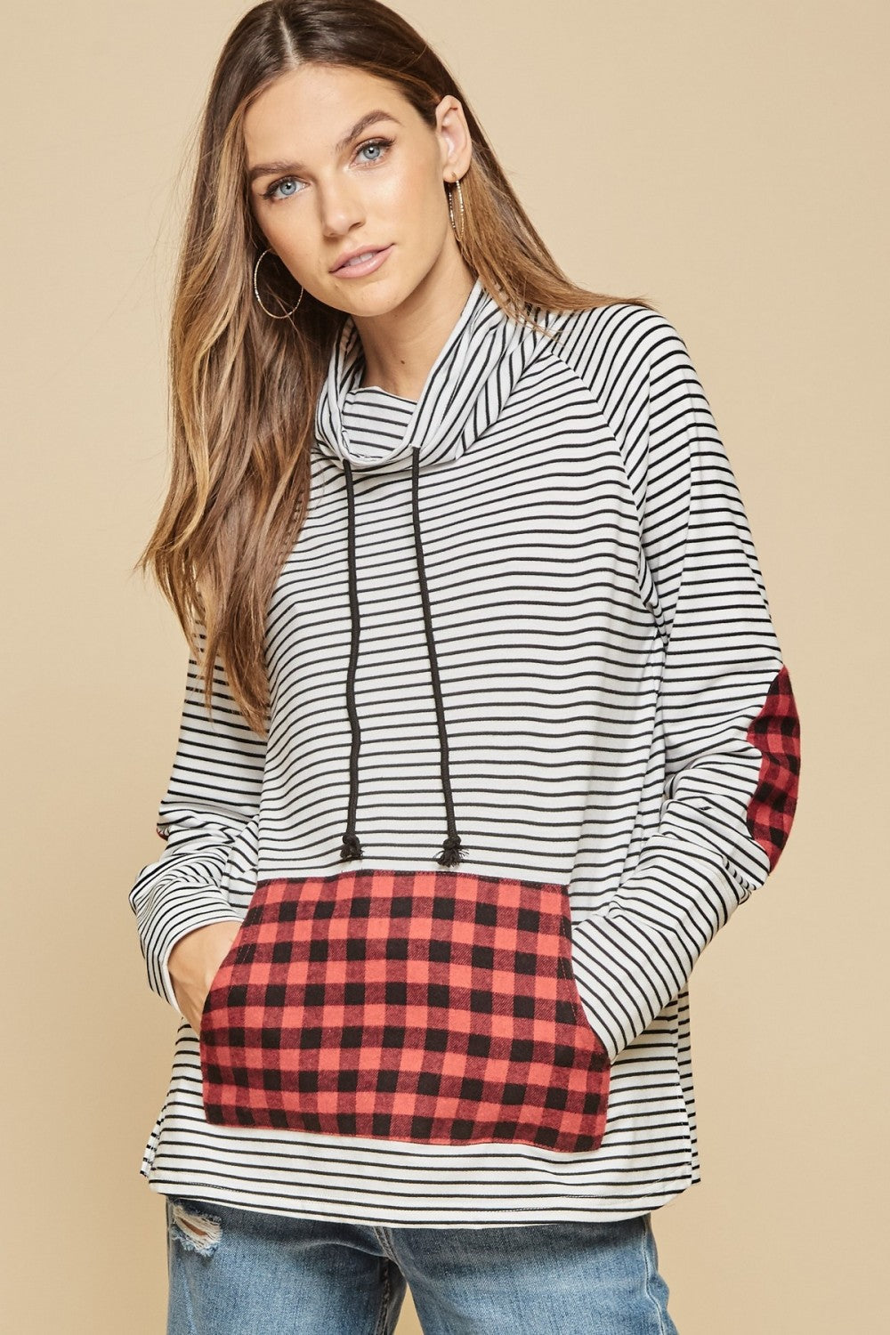 Striped Cowl Neck Pull Over