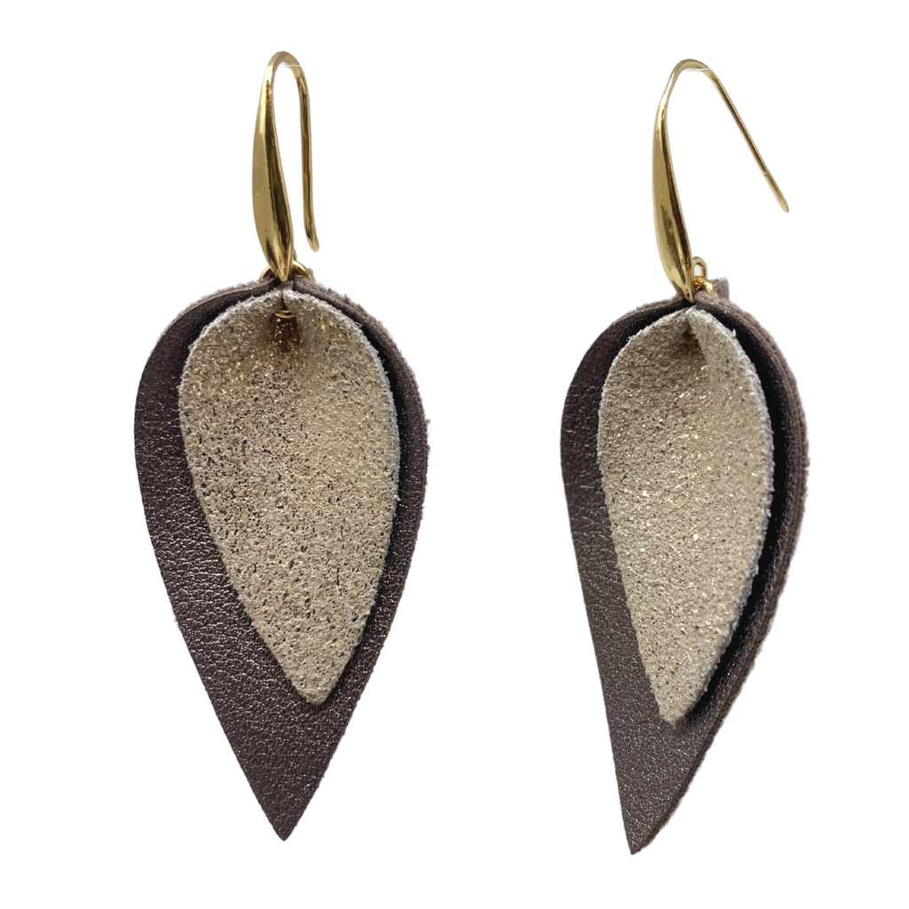 Metallic Taupe Double Teardrop Earrings