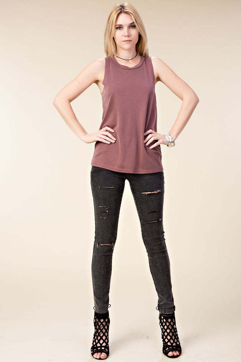 Sleeveless Top with Key-Hole Detail in Back