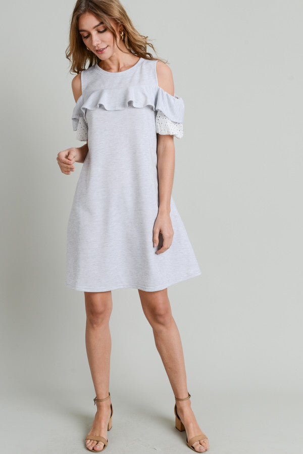 Eyelet Puff Sleeve Terry Dress