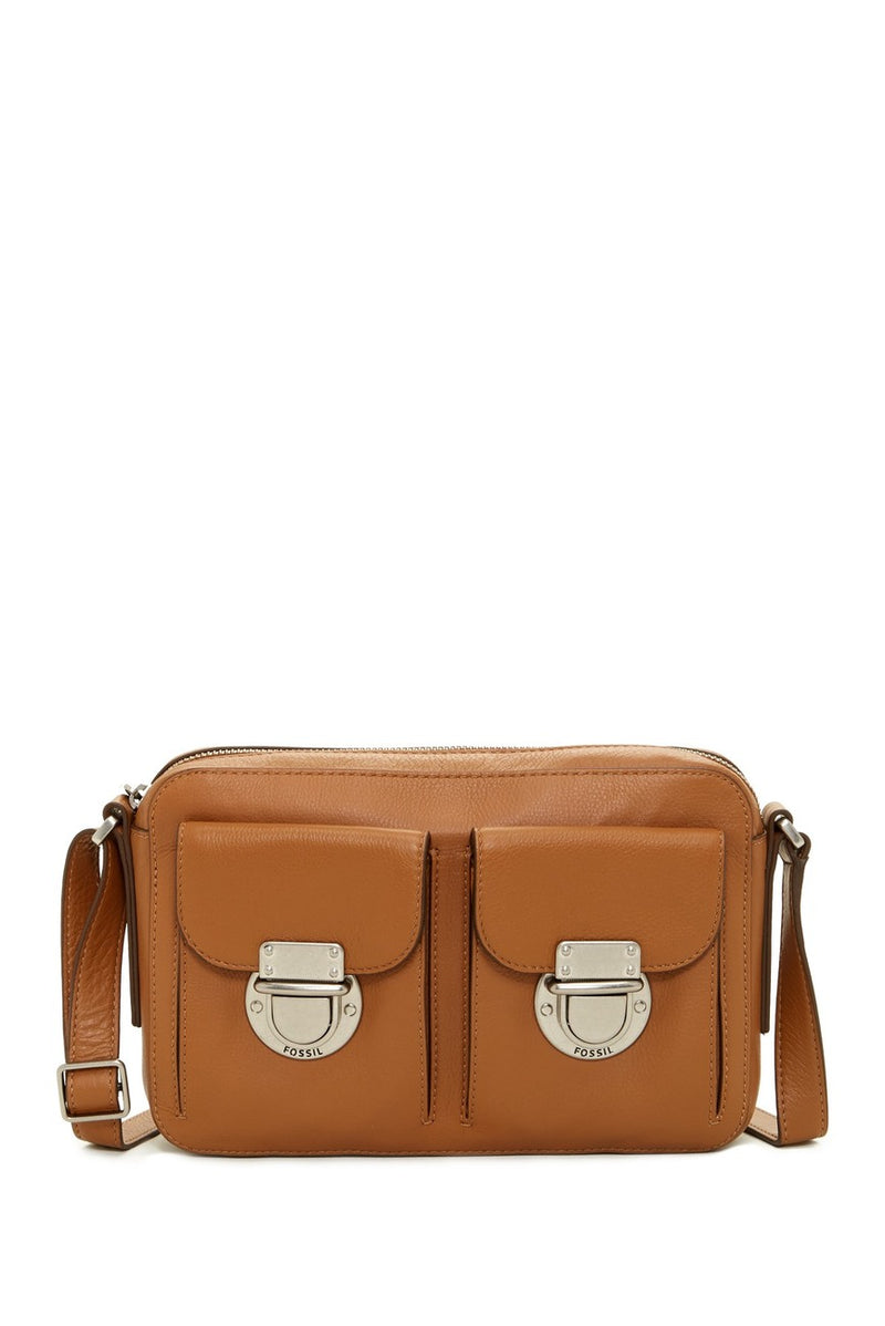 Fossil Riley Top Zip Leather Crossbody Camel