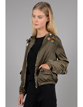 Olive Jacket With Rhinestone Details