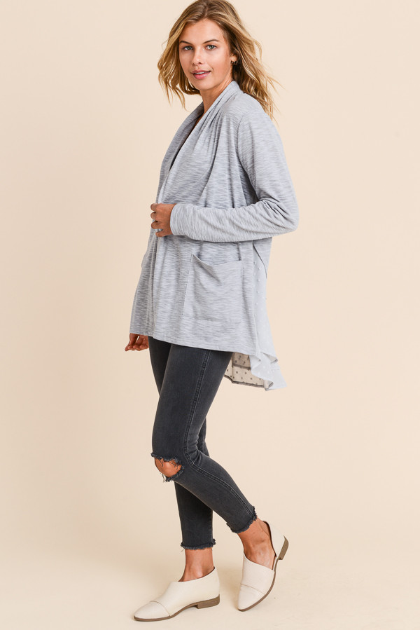 Cocoon Cardigan with Ruffle Edge