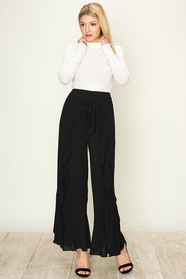 Black Ruffled Tie Front Pants