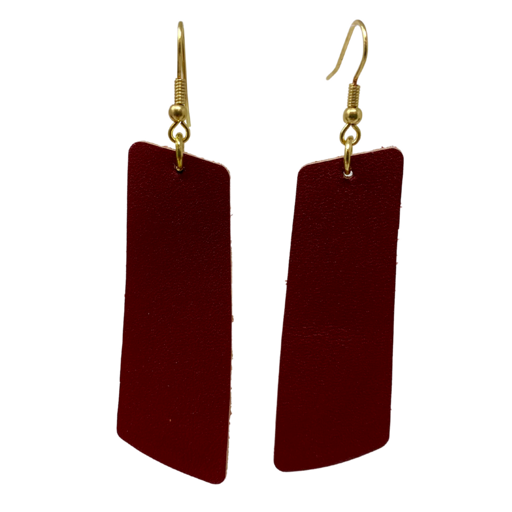 Maroon Rectangle Drop Earrings