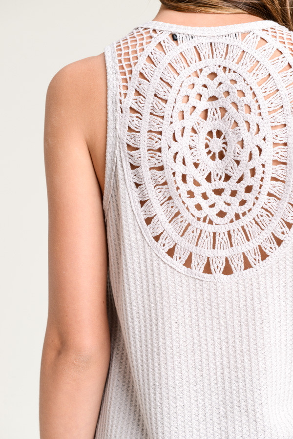 Crochet Back Ribbed Sleeveless Tank