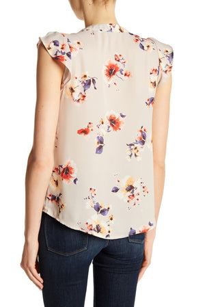 Ruffle Sleeve Hi-Lo Floral Blouse