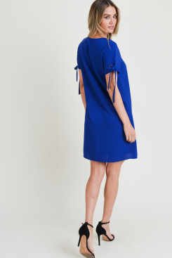 Dress Tied Sleeve Royal Blue