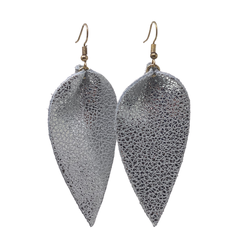 Silver Leather Teardrop Earrings