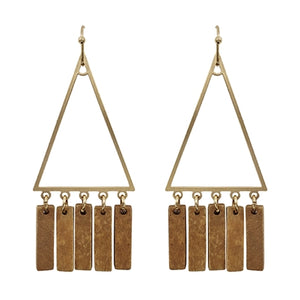 "Gold Triangle with Brown Wood Tassel Accent 2"" Earring"