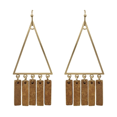 Gold Triangle with Brown Wood Tassel Accent 2