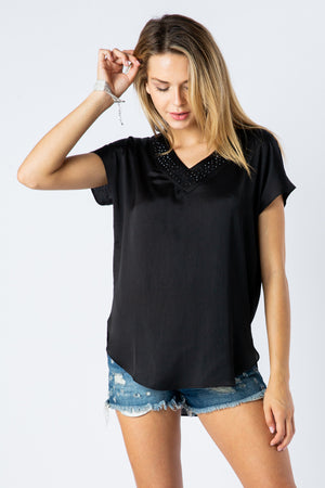 Blouse V-Neck With Stone Detail