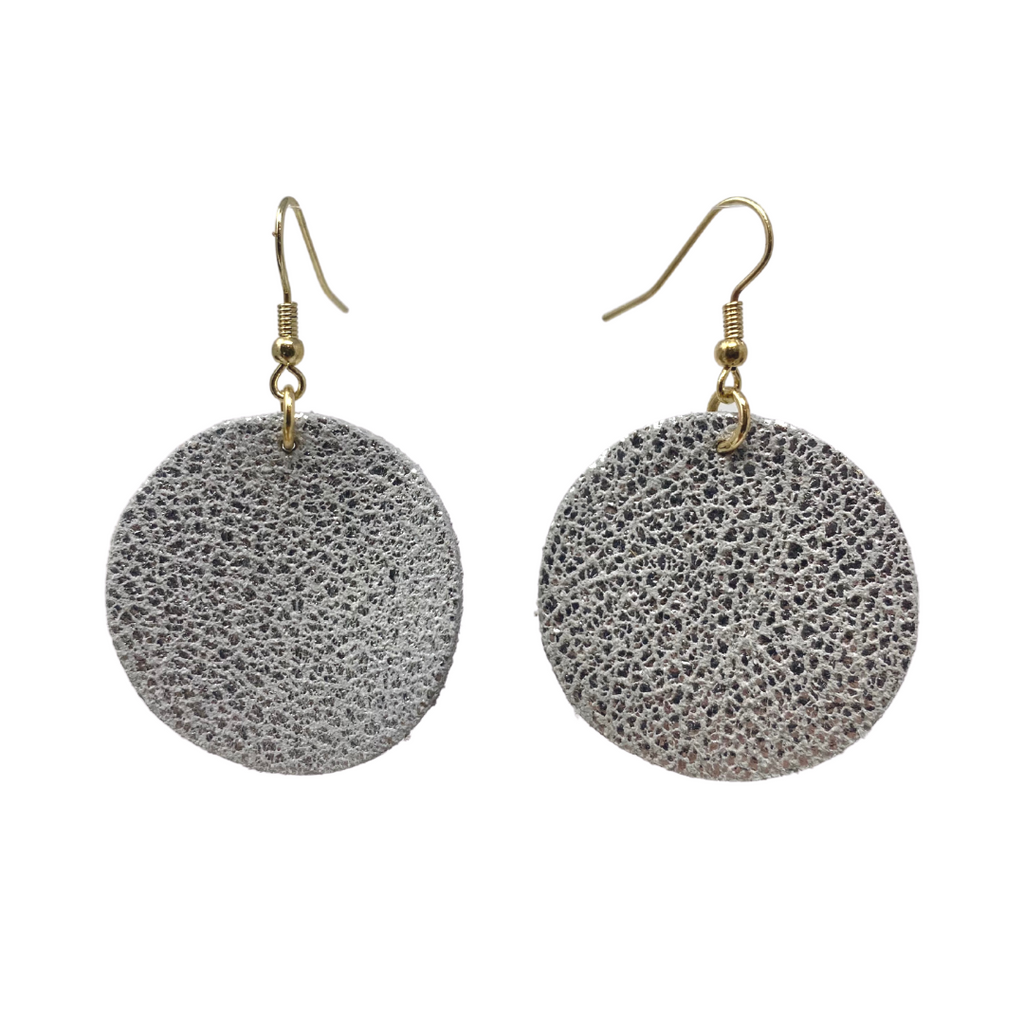 Silver Circle Leather Earrings