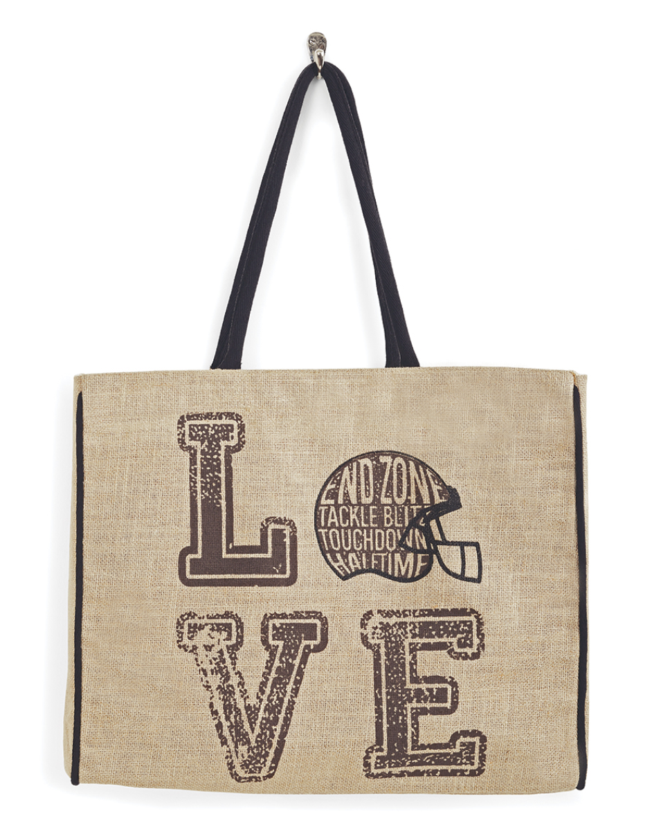 End Zone Burlap Tote