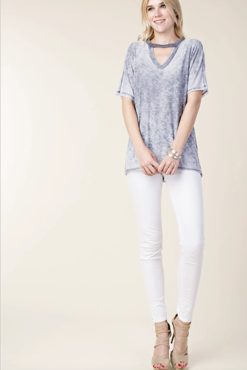 Burn-out Short Sleeve Loose Top