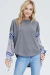Blouse Waffle Top With Printed Sleeves