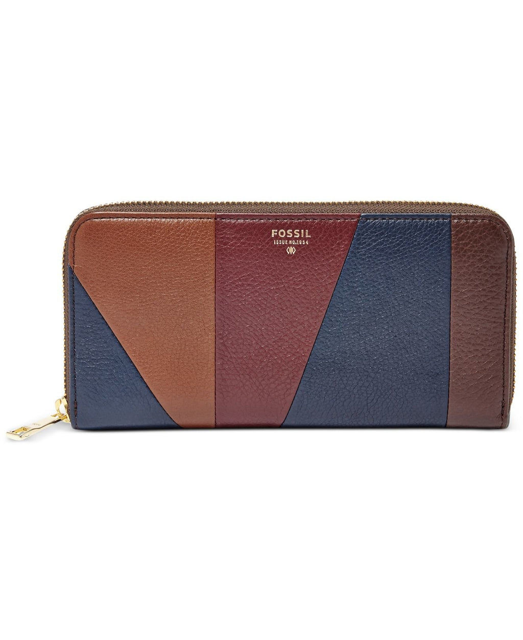 Fossil Sydney Zip Clutch, Navy/Taupe