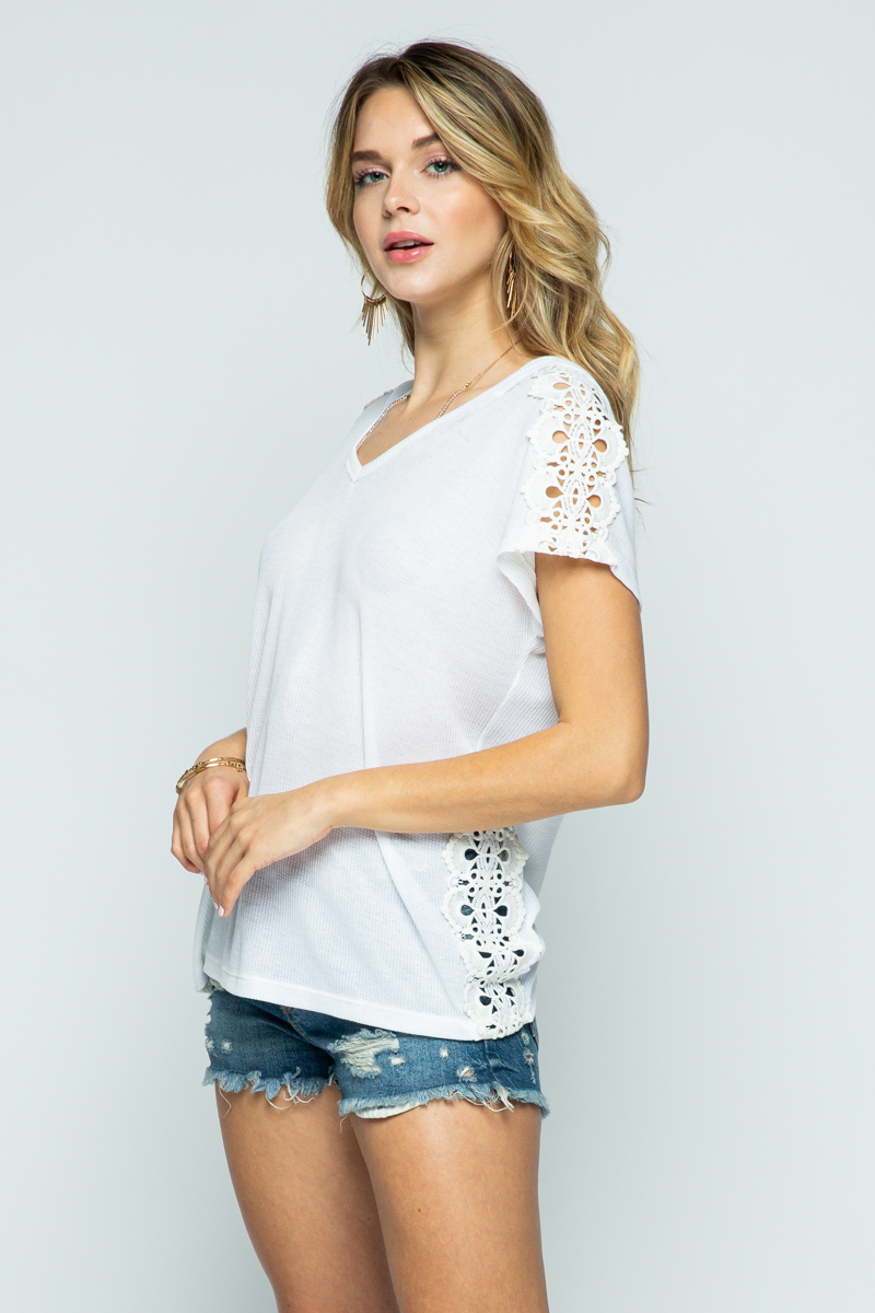 Hoodie Short Sleeve Top With Lace Trim