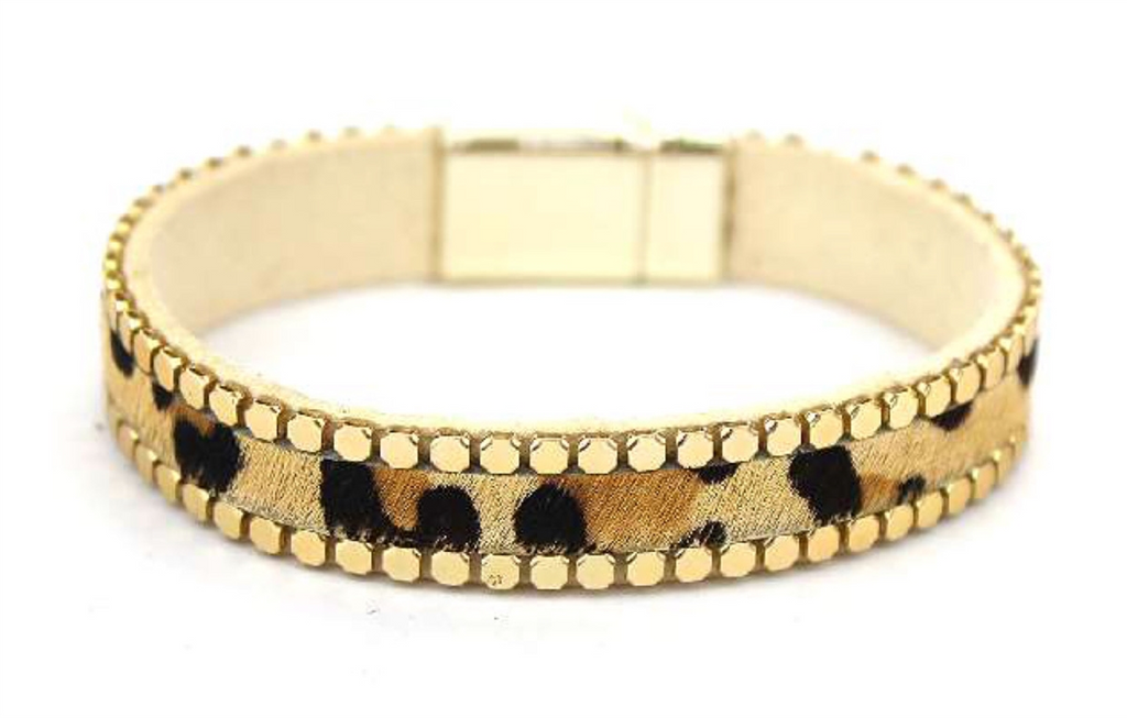 Cheetah Print with Gold Accent Magnetic Bracelet