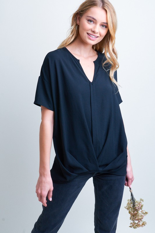 Short Sleeve Solid Woven Top