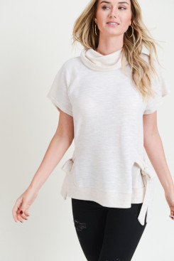 Cowl Neck Knit Top With Side Tie